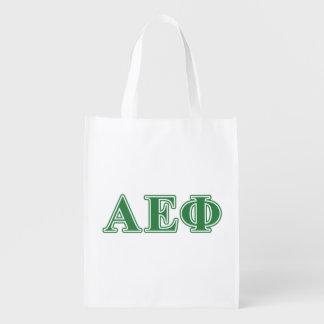 Alpha Epsilon Phi Green Letters 3 Reusable Grocery Bag