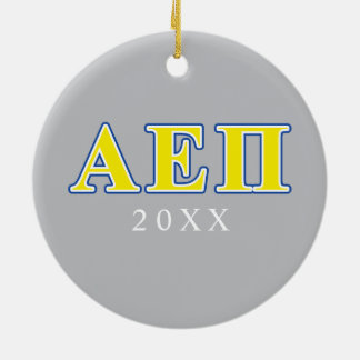 Alpha Epsilon Pi Blue and Yellow Letters Ceramic Ornament