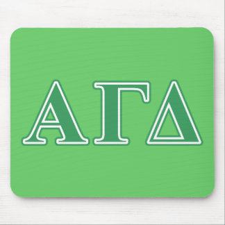 Alpha Gamma Delta Green Letters Mouse Pad