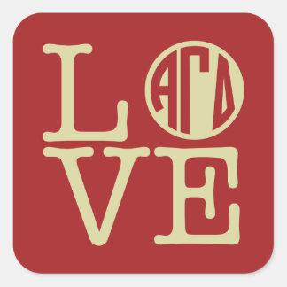 Alpha Gamma Delta Love Square Sticker