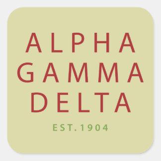Alpha Gamma Delta Modern Type Square Sticker