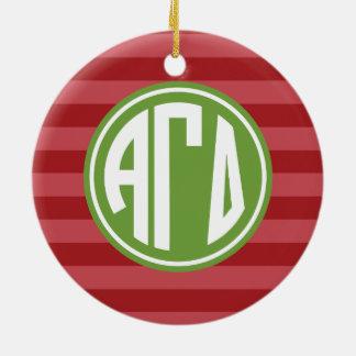 Alpha Gamma Delta   Monogram Stripe Pattern Ceramic Ornament