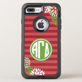 Alpha Gamma Delta | Monogram Stripe Pattern OtterBox Defender iPhone 8 Plus/7 Plus Case