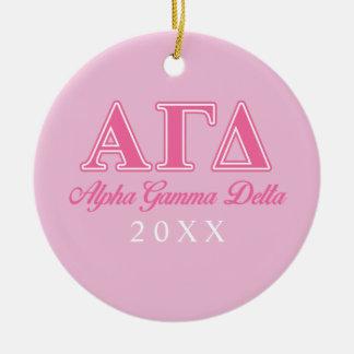 Alpha Gamma Delta Pink Letters Ceramic Ornament
