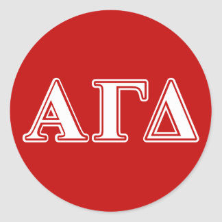 Alpha Gamma Delta Red and White Letters Classic Round Sticker