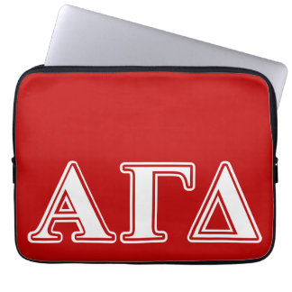 Alpha Gamma Delta Red and White Letters Laptop Sleeve