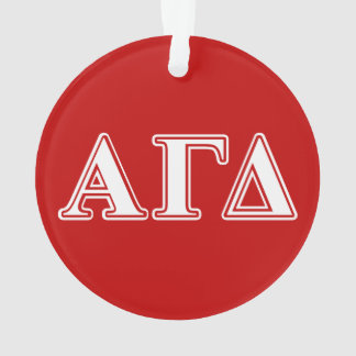 Alpha Gamma Delta Red and White Letters Ornament