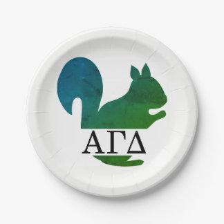 Alpha Gamma Delta Squirrel Plate 7 Inch Paper Plate