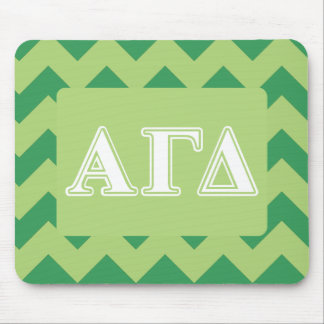 Alpha Gamma Delta White and Green Letters Mouse Pad