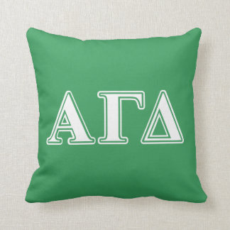 Alpha Gamma Delta White and Green Letters Throw Pillow