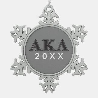 Alpha Kappa Lambda Black Letters Snowflake Pewter Christmas Ornament