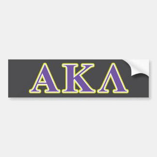 Alpha Kappa Lambda Purple and Yellow Letters Bumper Sticker