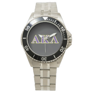 Alpha Kappa Lambda White and Purple Letters Watch