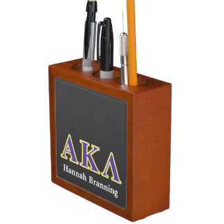 Alpha Kappa Lambda White and Yellow Letters Desk Organizer