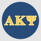 Alpha Kappa Psi Yellow Letters Classic Round Sticker