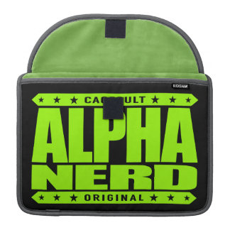 ALPHA NERD - Army of Intellectual Warriors, Lime MacBook Pro Sleeve