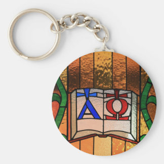 Alpha Omega Book Stained Glass Art Basic Round Button Keychain