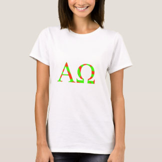 Alpha Omega Green and Red Bright Design T-Shirt