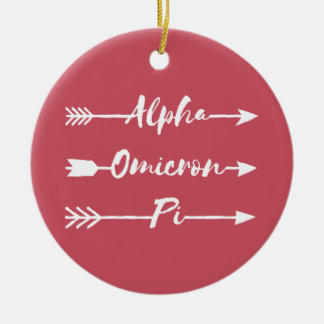 Alpha Omicron Pi Arrow Ceramic Ornament