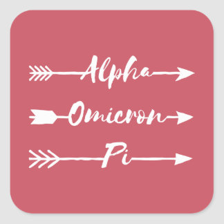 Alpha Omicron Pi Arrow Square Sticker