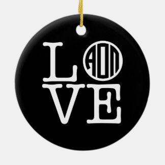 Alpha Omicron Pi Love Ceramic Ornament