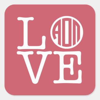 Alpha Omicron Pi Love Square Sticker