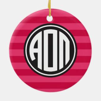 Alpha Omicron Pi   Monogram Stripe Pattern Ceramic Ornament