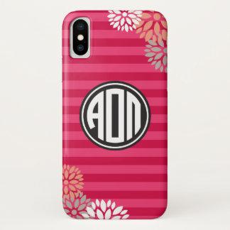 Alpha Omicron Pi | Monogram Stripe Pattern iPhone X Case