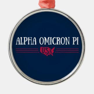 Alpha Omicron Pi USA Metal Ornament