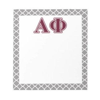 Alpha Phi Bordeaux Letters Notepad