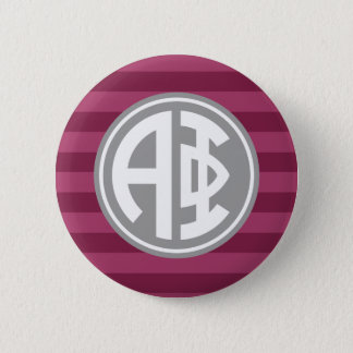 Alpha Phi | Monogram Stripe Pattern 2 Inch Round Button