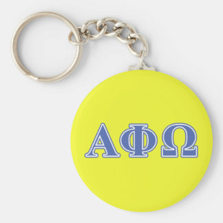 Alpha Phi Omega Blue Letters Basic Round Button Keychain