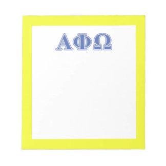 Alpha Phi Omega Blue Letters Notepad