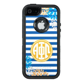 Alpha Phi Omega   Monogram Stripe Pattern OtterBox Defender iPhone Case
