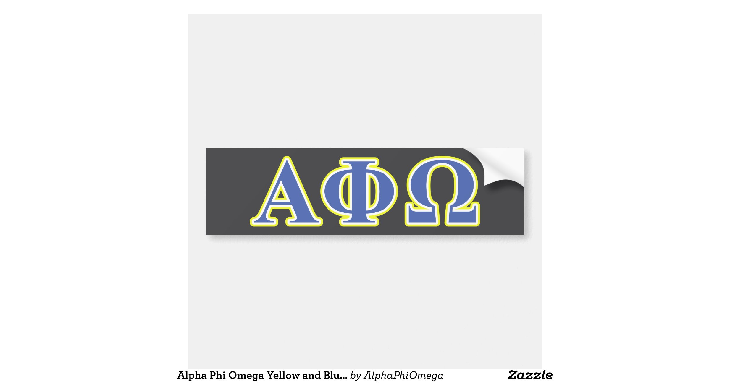 alpha phi omega letters alpha phi omega yellow and blue letters bumper sticker 1307