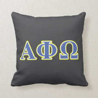 Alpha Phi Omega Yellow and Blue Letters Throw Pillow