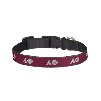 Alpha Phi Silver Letters Pet Collar