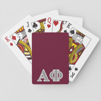 Alpha Phi Silver Letters Playing Cards