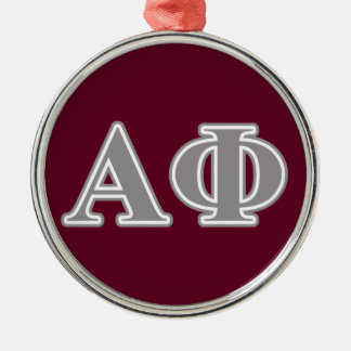 Alpha Phi Silver Letters Silver-Colored Round Ornament