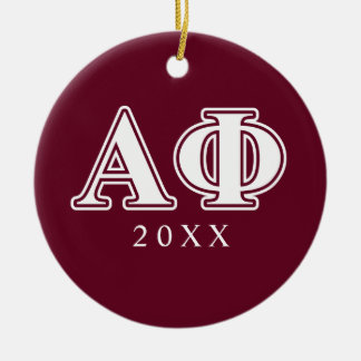 Alpha Phi White and Bordeau Letters Round Ceramic Ornament