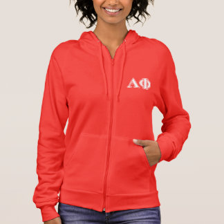 Alpha Phi White and Silver Letters Hoodie
