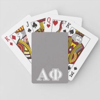 Alpha Phi White and Silver Letters Playing Cards
