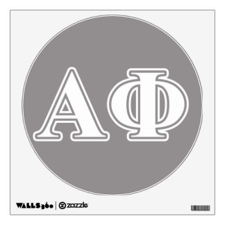 Alpha Phi White and Silver Letters Wall Decal