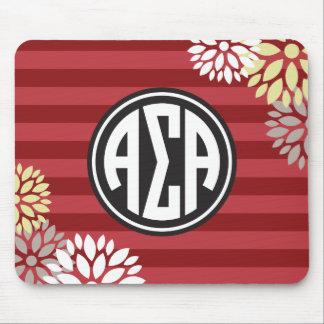 Alpha Sigma Alpha | Monogram Stripe Pattern Mouse Pad
