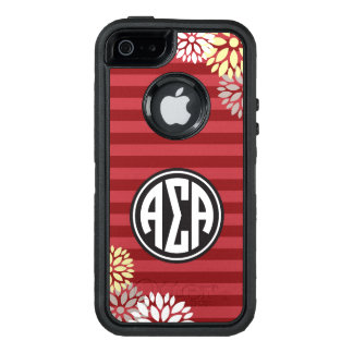 Alpha Sigma Alpha | Monogram Stripe Pattern OtterBox Defender iPhone Case