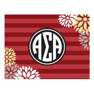 Alpha Sigma Alpha | Monogram Stripe Pattern Postcard