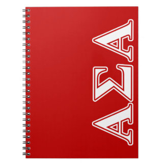 Alpha Sigma Alpha White and Red Letters Notebook