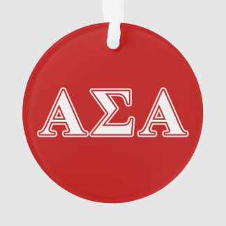 Alpha Sigma Alpha White and Red Letters Ornament