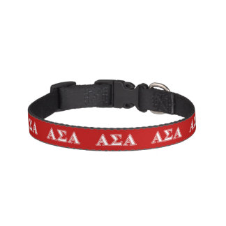 Alpha Sigma Alpha White and Red Letters Pet Collar