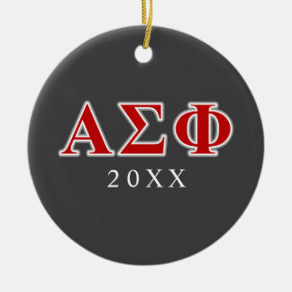 Alpha Sigma Phi Red and Grey Lettes Ceramic Ornament